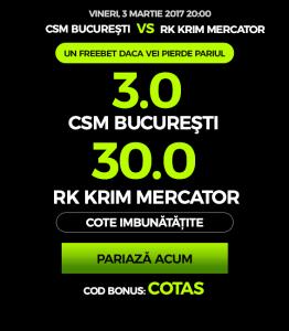 Cote imbunatatite pentru CSM Bucuresti la NetBet!