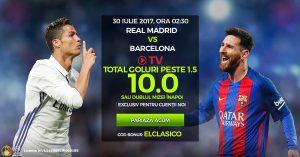 Nebunieee! Cota 10 pentru Over 1.5 goluri la Barcelona vs Real Madrid