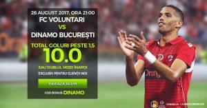 Cota 10 pentru 2+ goluri marcate la Voluntari vs Dinamo