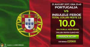 Cota 10 pentru Peste 2.5 goluri marcate la Portugalia vs Feroe