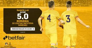 Pariaza la cota 5.0 pe victoria Romaniei cu Armenia