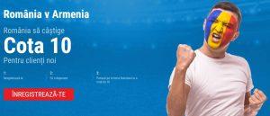 Pariaza la cota 10 pe succesul Romaniei cu Armenia