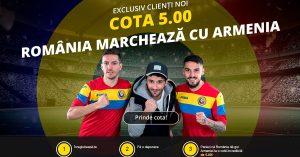 Profita de cota 5.0 acordata pentru Romania sa inscrie un gol cu Armenia