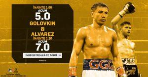 Super cote de 5.0 si 7.0 pentru duelul Golovkin vs Alvarez