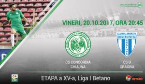 Concordia Chiajna vs CSU Craiova - Se întâlnesc două dintre cele mai ofensive echipe din Liga 1