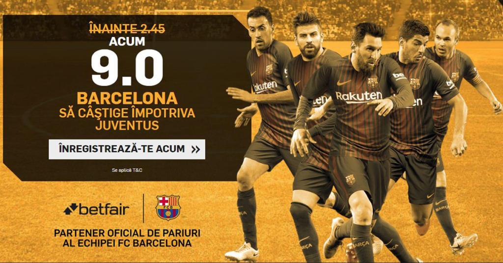 Cota 9.0 pentru victoria Barcelonei cu Juventus, plus Abonament Premium pentru 60 de zile