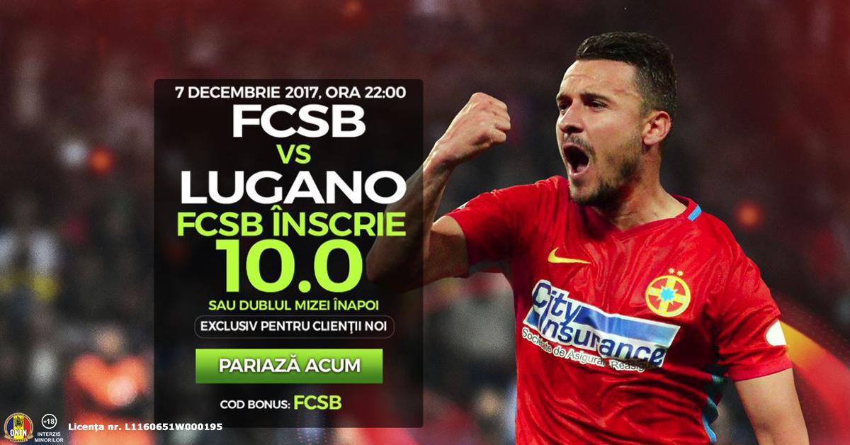 Cota 10.0 pentru macar un gol marcat de FCSB cu Lugano