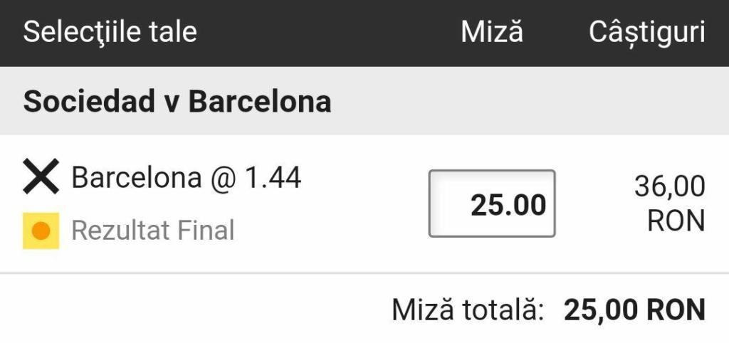 Cota 8.0 pentru Barcelona sa castige cu Sociedad plus Abonament Premium pentru 60 de zile!