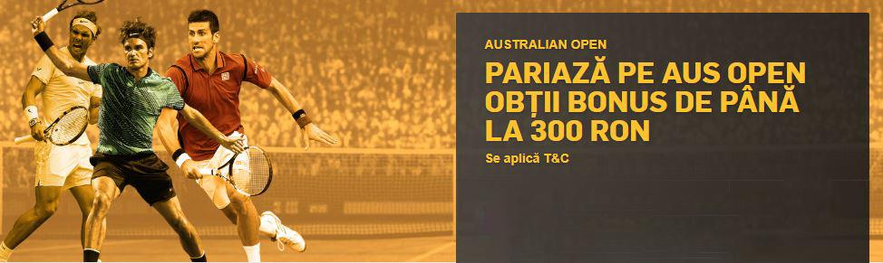 Bonus pana la 300 RON daca pariezi pe meciuri de la Australian Open!