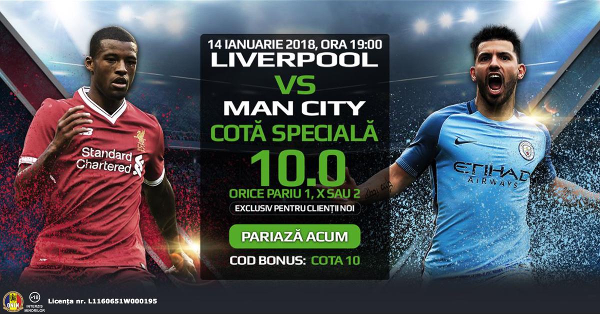 Pariaza la Liverpool vs Man. City pe 1, X sau 2 la cota speciala 10.0!