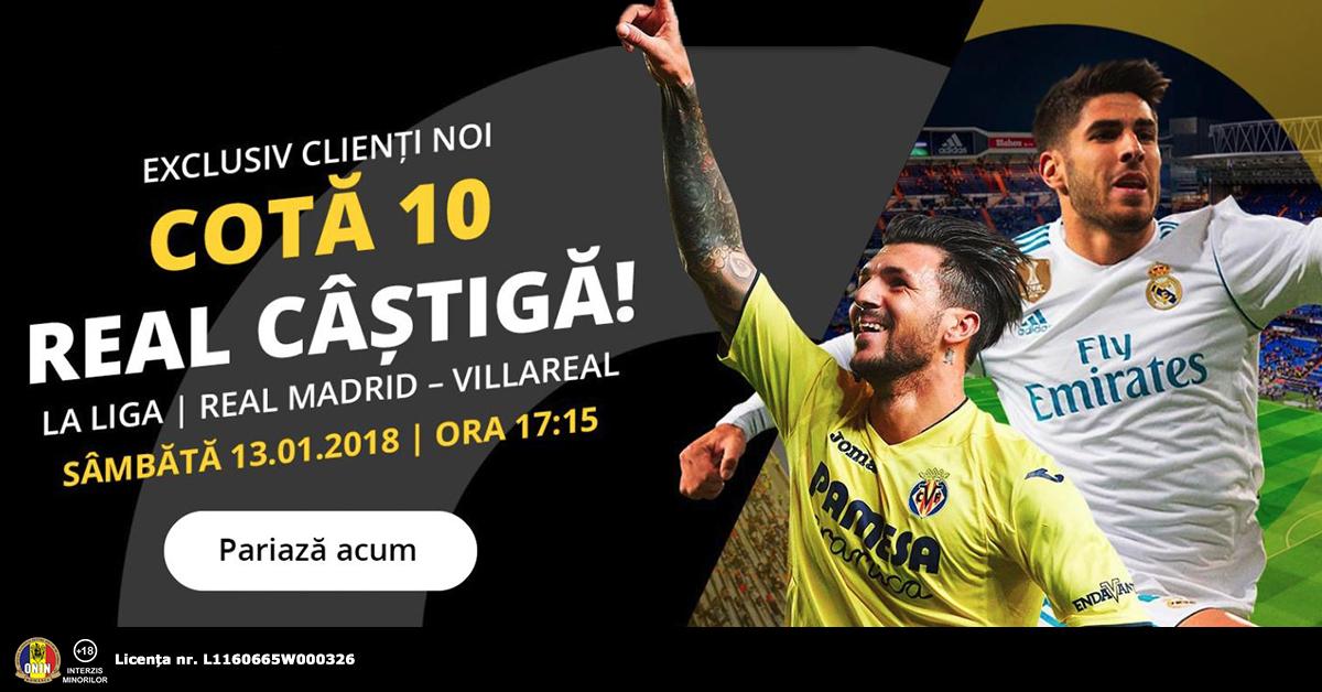 Cota 10.0 pentru Real sa castige cu Villarreal plus 60 de zile Abonament Premium!