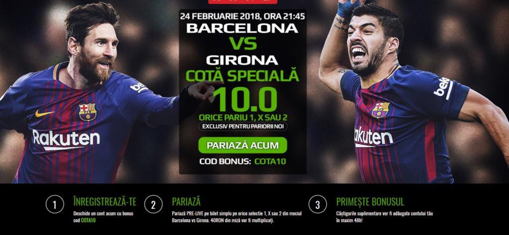 Pariaza la Barcelona vs Girona pe 1, X sau 2 la cota speciala 10.0!
