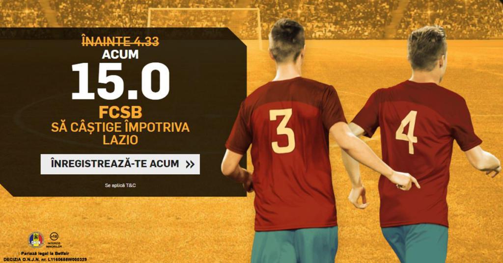 Cota 15.0 pentru FCSB sa castige cu Lazio plus Abonament Premium pentru 60 de zile!