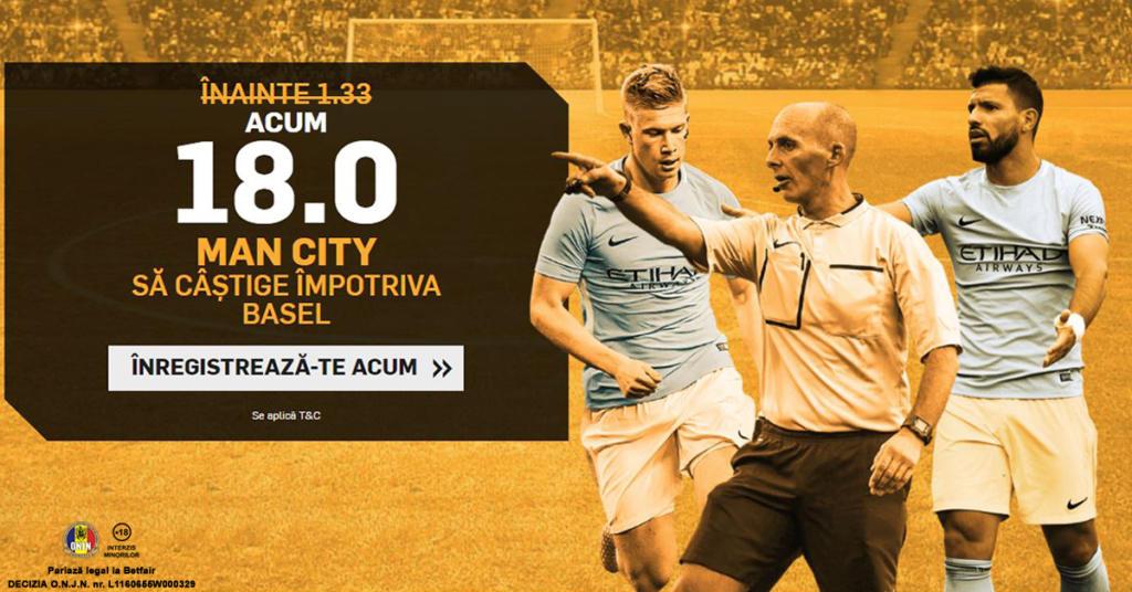 Cota 18.0 pentru Man. City sa castige cu Basel plus Abonament Premium pentru 60 de zile!