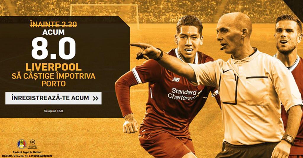 Cota 8.0 pentru Liverpool sa castige cu Porto plus Abonament Premium pentru 60 de zile!