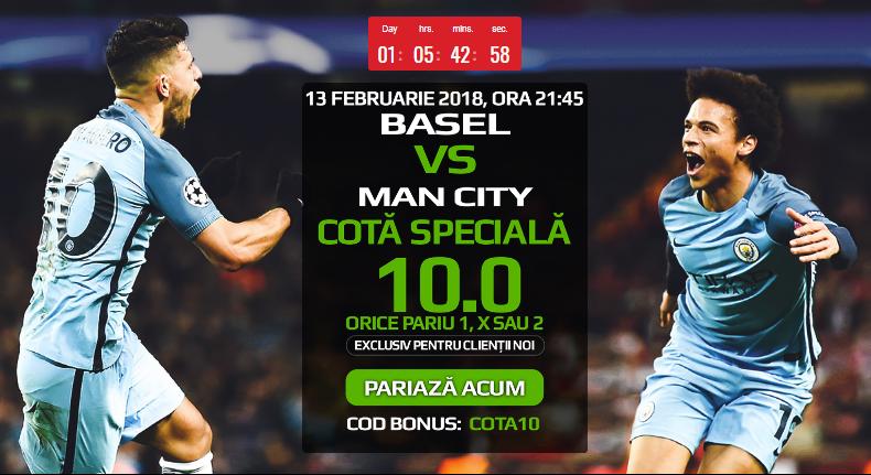 Pariaza la Basel vs Manchester City pe 1, X sau 2 la cota speciala 10.0!