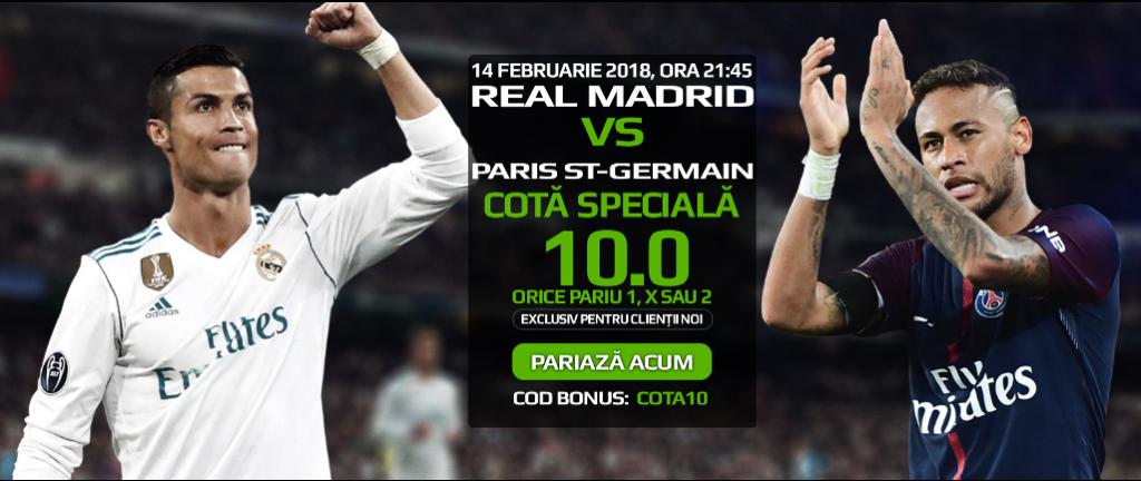 Pariaza la Real Madrid vs PSG pe 1, X sau 2 la cota speciala 10.0!