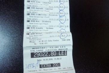 13 n-a fost cu ghinion pentru un parior timisorean! Peste 29.000 RON incasati cu doar 13 RON pariati!