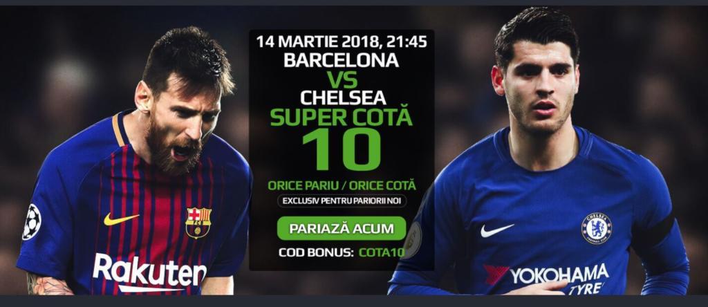 Cota 10 pentru orice pariu din oferta pentru Barcelona vs Chelsea