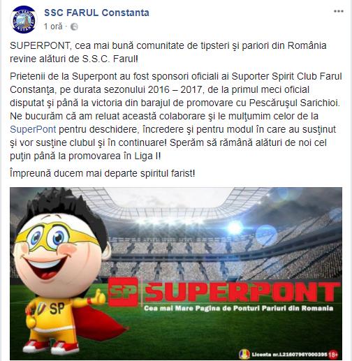 SuperPont, partener oficial al SSC Farul Constanta