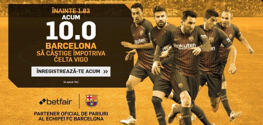 Cota 10.0 pentru Barcelona sa castige cu Celta Vigo plus Abonament Premium 60 de zile!