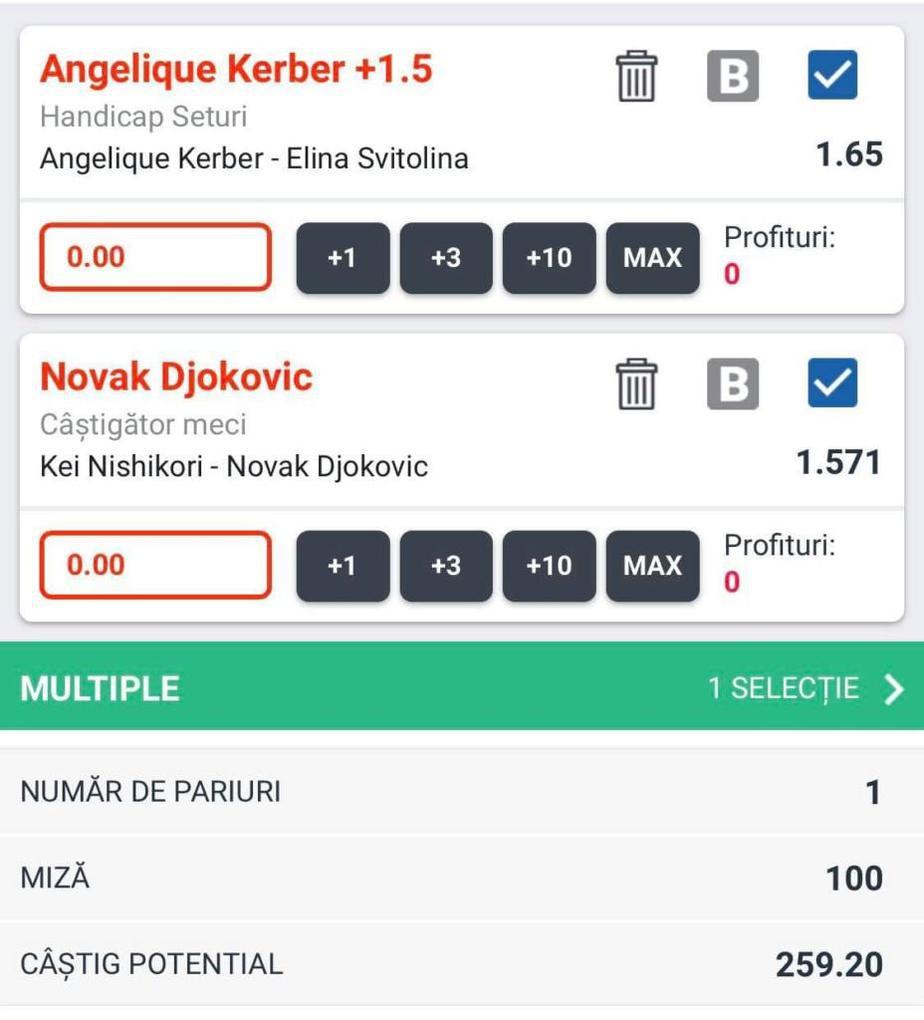 Biletul zilei din tenis – Vineri 18 Mai – Cota 2.60 – Castig potential 260 RON