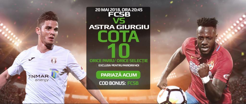 Cota 10 pentru orice pariu din oferta pentru FCSB vs Astra Giurgiu