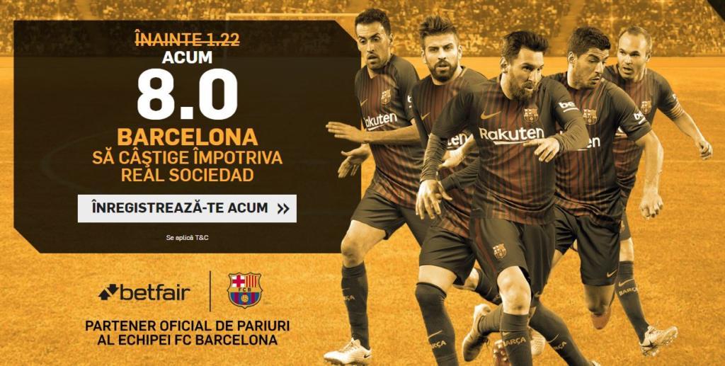 Cota 8.0 pentru Barcelona sa castige cu Real Soociedad plus Abonament Premium 60 de zile