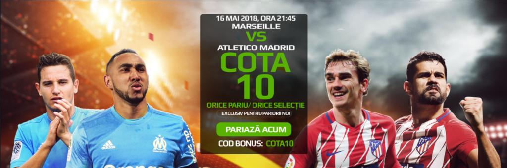 Cota 10 pentru orice pariu din oferta pentru Marseille vs Atletico Madrid