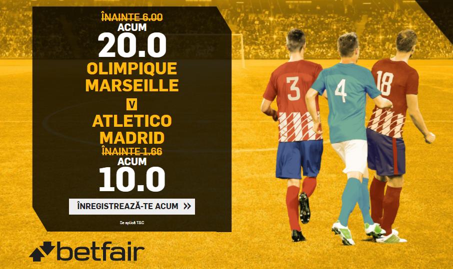 Cote la alegere pentru victorie Marseille sau Atl. Madrid – 20 pentru Marseille, 10 pentru Atletico