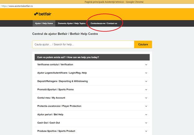 Cum pot contacta relatiile cu clientii de la Betfair?