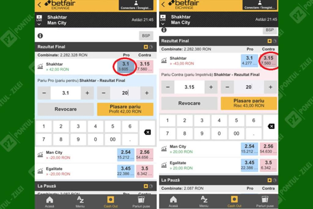 Pariu exchange pe mobil Betfair