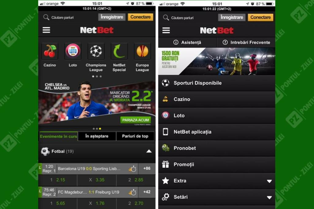 Aplicatie mobil NetBet