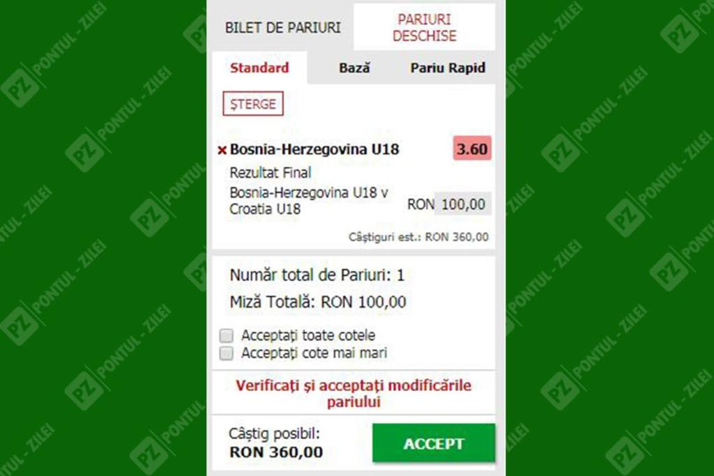 Pariu single la Maxbet