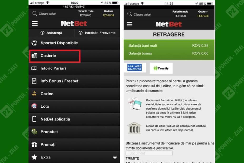Retragere de pe aplicatie NetBet