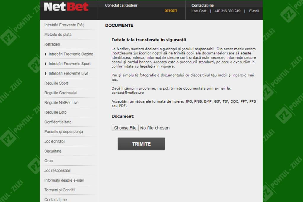 cum verifici contul la NetBet