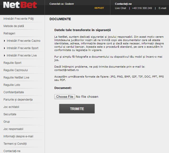 Cum se face verificarea contului la Netbet