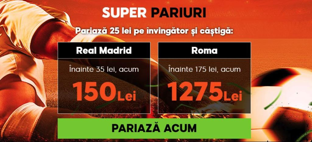 Pariaza pe Real Madrid vs AS Roma la cote marite!