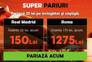 Pariaza pe Real Madrid vs AS Roma la cote marite!