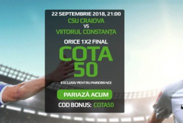 Cota zilei din fotbal – Sambata 22 Septembrie – Cota 2.05 – Castig potential 205 RON