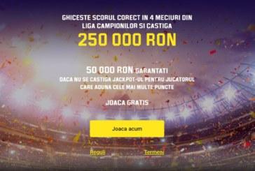 Castigi 250.000 RON daca ghicesti scorul corect la 4 meciuri de Liga Campionilor!