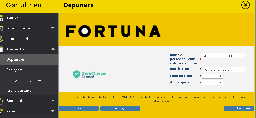 depunere card Fortuna