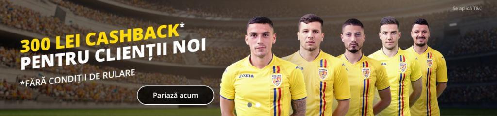 Click pe imagine și încasează BONUSUL DE 300 LEI FĂRĂ CONDIȚII DE RULARE