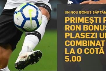 Bonus până la 125 RON dacă plasezi un Pariu Combinat câștigător la o cotă minimă de 5.00