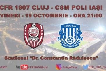 Ponturi pariuri CFR Cluj vs Politehnica Iasi – 19 octombrie 2018 Liga 1