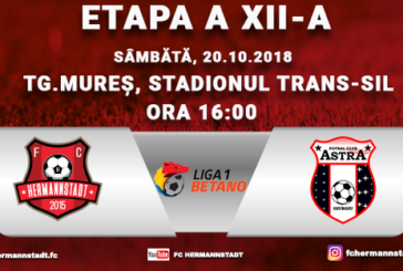 Ponturi pariuri Hermannstadt vs Astra Giurgiu – 20 octombrie 2018 Liga 1