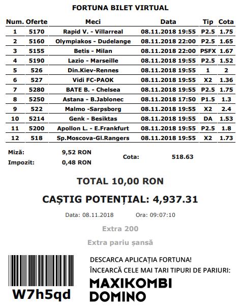 Biletul fotbal Europa League – Joi 08 Noiembrie – Cota 518.63