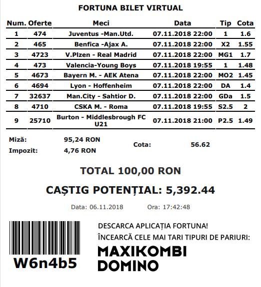 Biletul fotbal COTA MARE – MIERCURI 07 Noiembrie – Cota 56.62