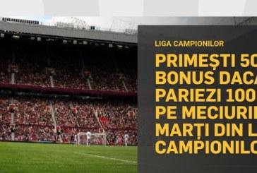 50 RON bonus la Betfair daca pariezi pe meciurile de marti din Champions League