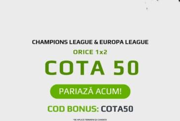 Cota 50.00 pentru orice meci din Cupele Europene